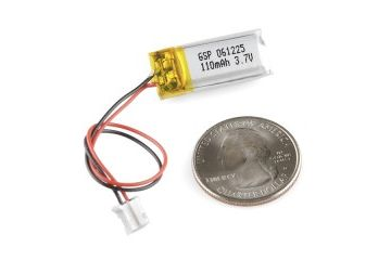 liion lipoly SPARKFUN Polymer Lithium Ion Battery - 110mAh, SpartkFun 00731