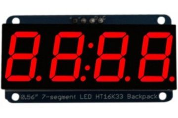 3D SYSTEMS Adafruit 0.56 inch 4-Digit 7-Segment Display wI2C Backpack - Red, Adafruit 878