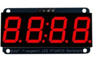 3D SYSTEMS Adafruit 0.56 inch 4-Digit 7-Segment Display wI2C Backpack - Red, Adafruit 878