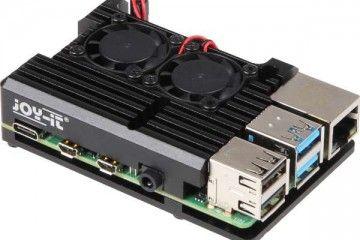 ohišja JOY-IT Raspberry Pi 4 B Armor Case, Active With Cooling Fans, Joy-IT RB-AlucaseP4+07FAN