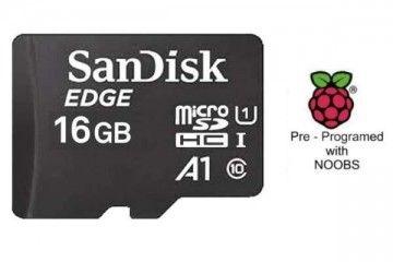 sd kartice RASPBERRY PI 16GB Micro uSD Card Pre-Programmed with NOOBS_v3_7_0_with_Raspbian, Sandisk SDSDQAD-016G, SC0250GM